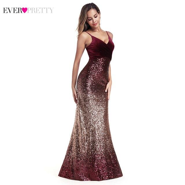 Ever Pretty Sequined Evening Dresses Mermaid Spaghetti Straps V-Neck Sexy Burgundy Long Formal Dresses Vestidos Compridos 2019 1