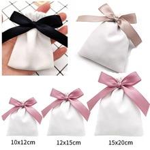 White Velvet Ribbon Gift Bags Jewelry Sack 7x9cm 10x12cm 12x15cm pack of 50 Eyelashes Makeup Lipstick Drawstring Pouches