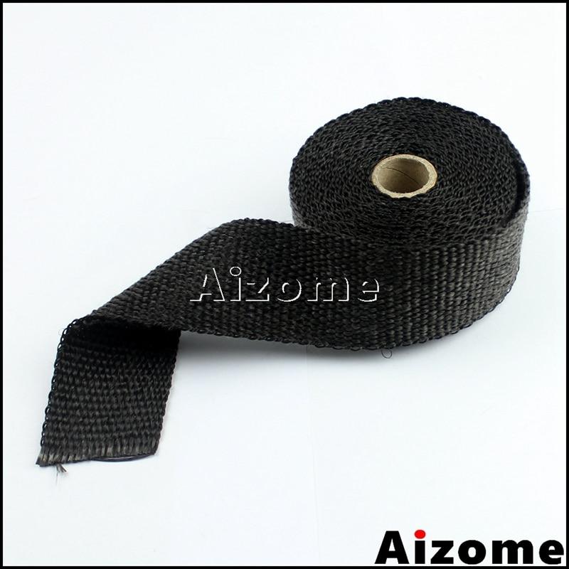 "H Black 2/"" x 50FT Exhaust Header Fiberglass Heat Wrap Tape w// 5 Steel Ties"