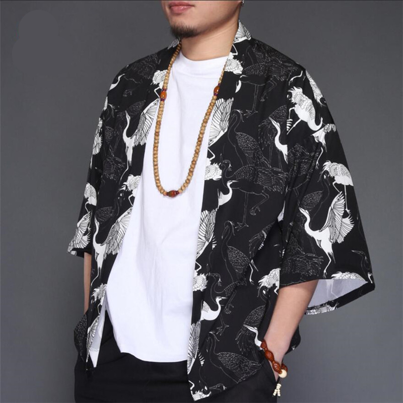 Men Vintage Shirt Men White Crane Folk Custom Shirt Male Lightweight Breathable Shirts Men Summer Holiday Tops A5565