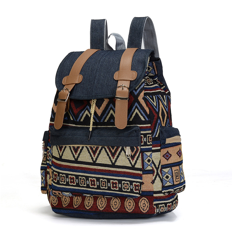National Women Canvas Backpack Drawstring Printing Backpacks For Teenage Girls Large Capacity School Bag Travel Bags Rucksack