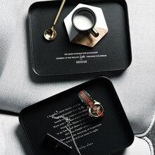 Черный офисный металлический шкаф для хранения, Минималистичная скандинавский Nordic стол Sundries еда ювелирные Железный человек, лоток для хранения Организатор Декор