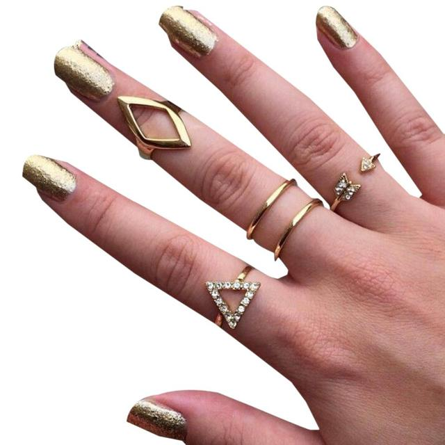 Fashion Jewelry Golden Ring Set Rings For Women Fine Jewelry