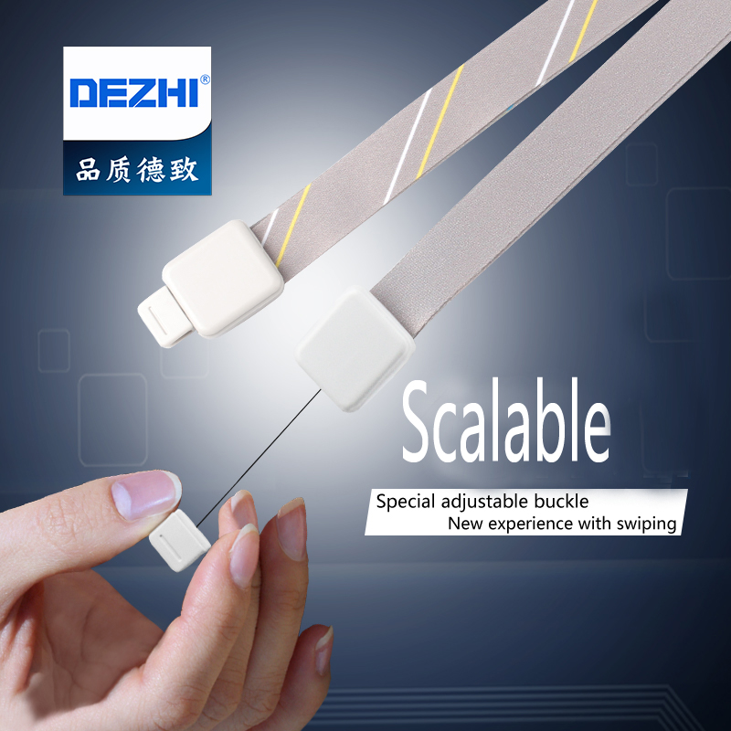 DEZHI-Retractable Polyester Lanyard for ID Name Card Holder ,Business Card Badge Holder Neck Strap Stripe&Solid,Office Supplies