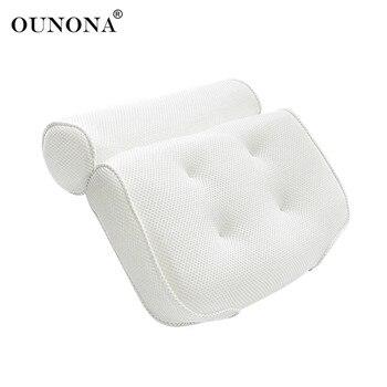 OUNONA дышащая 3D сетки гидромассажная Ванна подушку с присосками шеи и спины Поддержка спа-подушка для гидромассажная Ванна