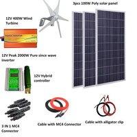 700W wind solar hybrid system: 300W poly solar panel,400W Wind Turbine Generator,peak 2000w pure since wave inverter, controller