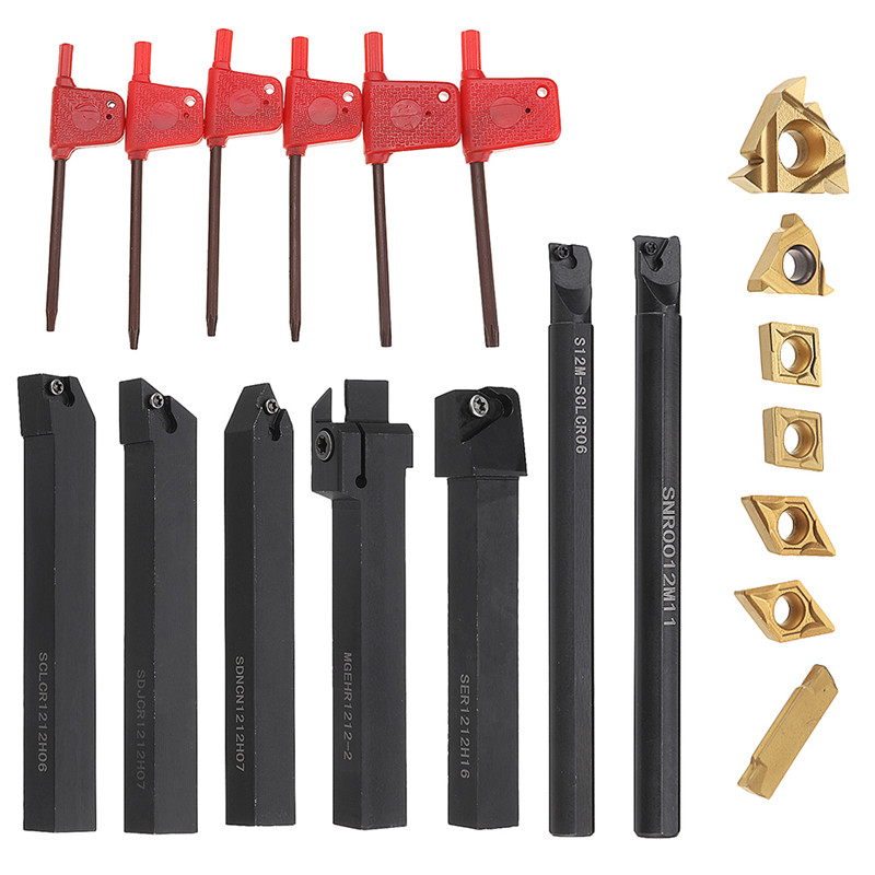 Durable 7pcs 12mm Shank Lathe Boring Bar Turning Tool Holder Set 45HRC With Carbide Inserts