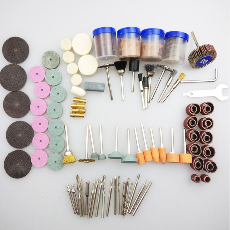 161PCS   electric grinding accessory kit   Resin-cutting sandpaper grinding head carving circle brush cutters polish Accessories 105 in 1 electric grinding accessory rod mills kit silver 105 pcs