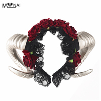 Steam punk Horn Headband Roses Flower Veil Hairbands For Party Christmas & Easter Hair Accessories Costumes
