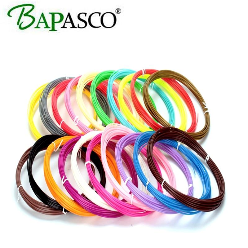 Bapasco 200 Meters 20 colors ABS Plastic Wire 1.75mm 3D Printer Materials Threads ROHS certified 3D Pen Filament 3d linear