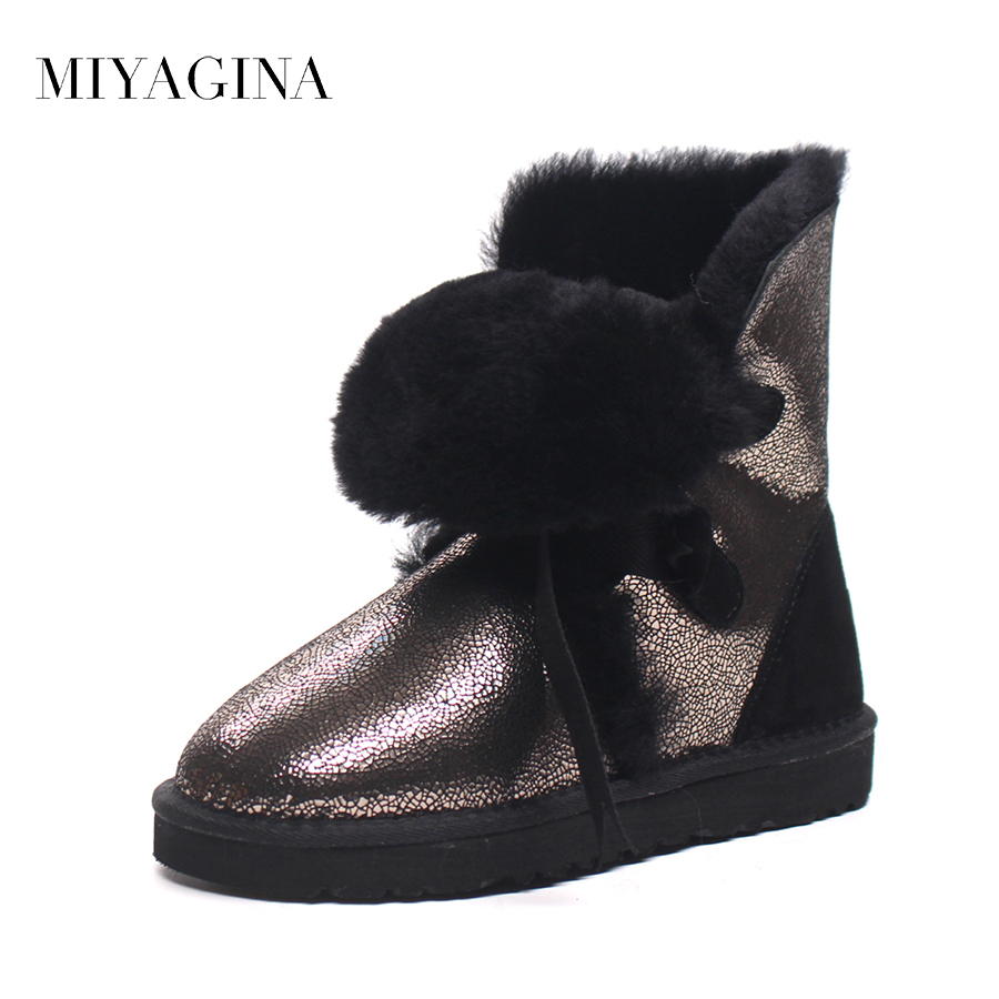 Top Quality New Arrival Genuine Sheepskin Leather Snow Boots Winter Real Wool Mid-Calf Mujer Botas  Fashion Shoes For Women new arrival girl full leather boots spring autumn casual snow high top genuine leather boots women shoes a443