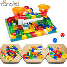 Tumama 52pcs DIY Construction Marble Race Run Maze Balls Track Kids Children Gaming Building Blocks Toys Compatible LegoINGly(China)