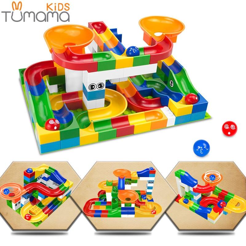 Tumama 52 قطع diy بناء سباق الرخام تشغيل - بناء اللعب