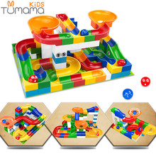 Tumama 52pcs DIY Construction Marble Race Run Maze Balls Track Kids Children Gaming Building Blocks Toys Compatible LegoINGly