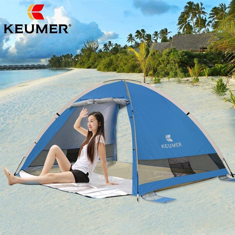 Portable Pop up plage abri solaire automatique tente instantanée Anti-UV 3-4 personnes auvent famille tente pour Camping, pêche, randonnée, pique-nique