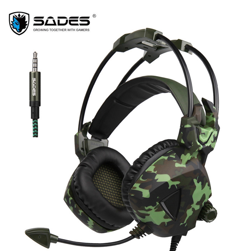 SADES SA-931 PS4 Camouflage Gaming Stereo Surround Bass Headset Headphones With Microphone Mic For Mobile Phone PC Laptop Gamer original xiberia v2 led gaming headphones with microphone mic usb vibration deep bass stereo pc gamer headset gaming headset