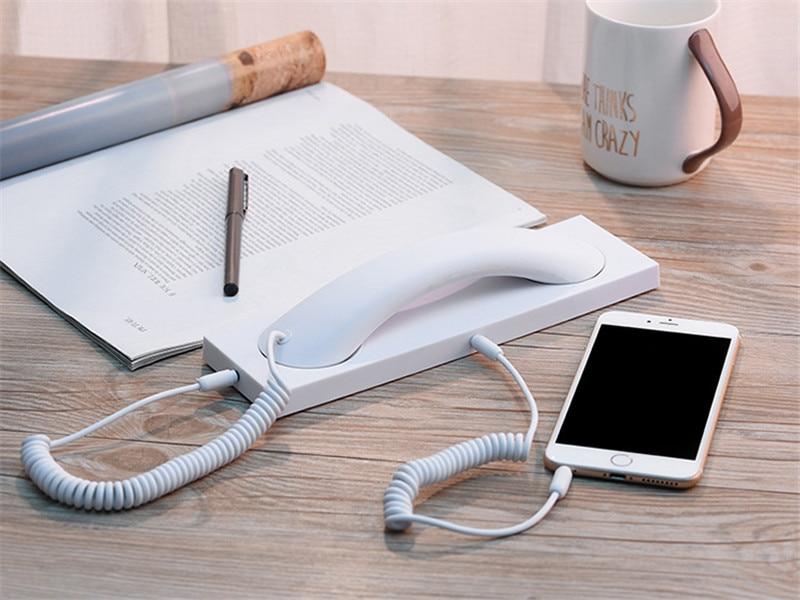 2018 Mode Retro Telefonhörer Mit Basis Headset 3,5mm Pc Comtuper Mikrofon Prävention Strahlung Für Iphone 8 7 6 5 4 Ein BrüLlender Handel