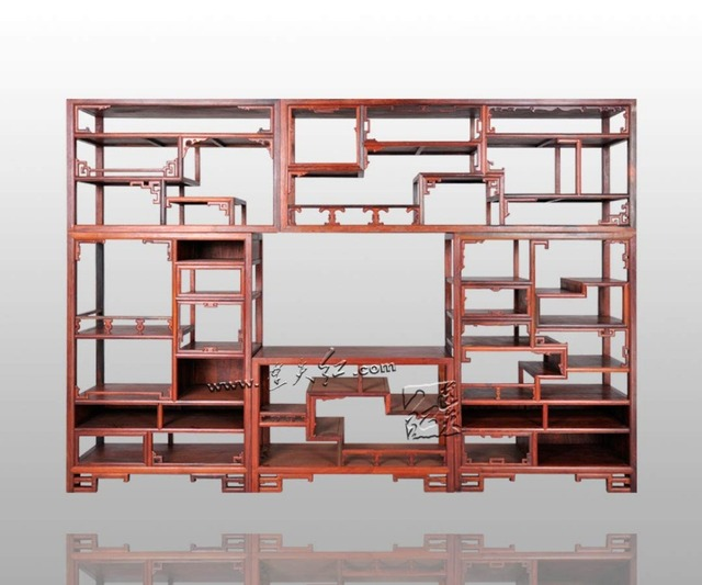 Multi Function Gate Type Curio Box New Chinese Retro Rosewood Bookcase  Office Filing Tea