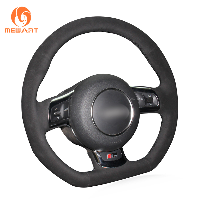 MEWANT Black Suede Hand-stitched Car Steering Wheel Cover for Audi TT 2008-2013 senior luxury hand knitted bv style car steering wheel cover for mini cooper