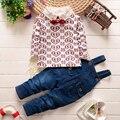2016 новая весна детская ребенка устанавливает 2 шт. хлопка с длинным рукавом футболка + комбинезон брюки мило любовь напечатаны детские джинсы целом костюмы
