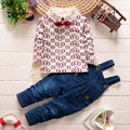 2016 new spring infant baby sets 2pcs cotton long sleeve T-shirt+denim jumpsuit pants cute love printed baby jeans overall suits