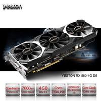 Yeston Radeon RX 580 GPU 4 Гб GDDR5 256 бит игровой настольный компьютер ПК видео Графика карты Поддержка сигнала от DVI/HDMI PCI E X16 3,0