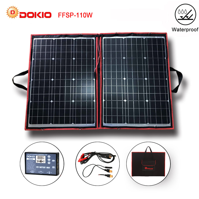 Dokio 100W 110W 55Wx2Pcs 18V Flexible Black Solar Panels China Foldable 12 24V Volt Controller 110
