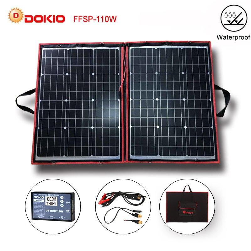 Dokio 100 w 110 w (55 w x 2 pces) 18 v flexível preto painéis solares china dobrável + 12/24 v volt controlador 110 watts painéis solares