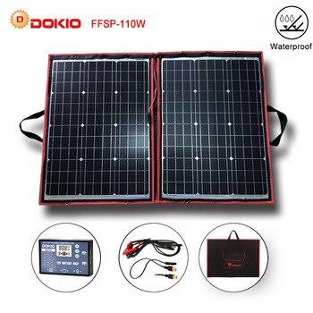 Dokio 100W 110 W (55W x 2 Pcs) 18V Flessibile Nero Pannelli Solari Cina Pieghevole + 12/24V Volt 110 Watt Pannelli Solari