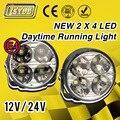 2 Pcs/lote Novo 4 LED DC12/24V Carro Automático Branco Reddondo Milha led DRL Luzes de Circulação Diurna led luz de nevoeiro estacionamento estilo de lâmpada de carro
