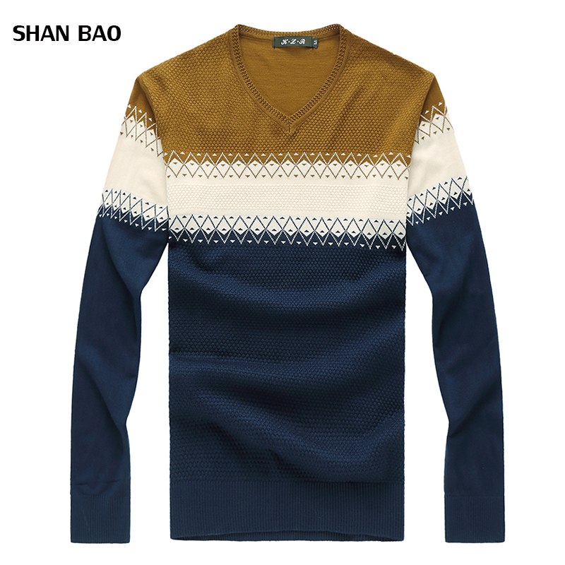 Pullover Men 2017 New Arrival Brand Mens Sweaters Winter V Neck Loose Geometric Pattern Knitted Sweater Men Plus 8XL Pull Homme