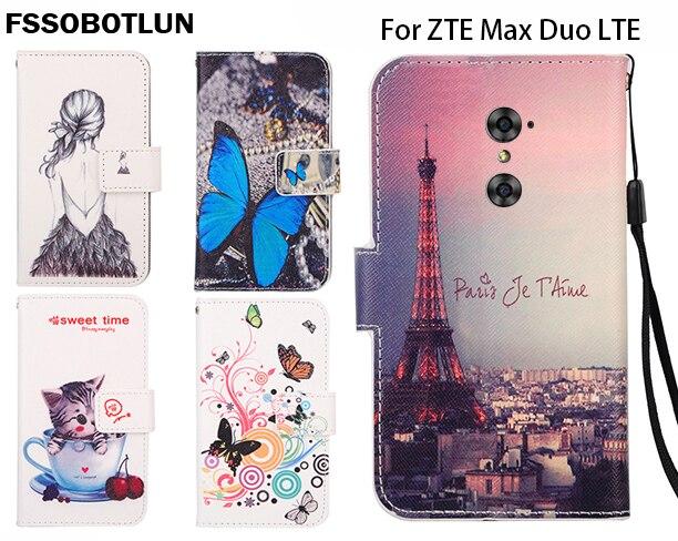 FSSOBOTLUN,For <font><b>ZTE</b></font> <font><b>Max</b></font> <font><b>Duo</b></font> <font><b>LTE</b></font> 6.0&#8243; <font><b>Phone</b></font> Flip <font><b>Case</b></font> Painting Patterns PU Leather Wallet 2 Credit Card Slots