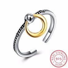 f3092857d Pure 925 Sterling Silver Adjustable Rings For Women Round Circle Charm  Dangle Ring Pendant Vintage Ring Jewelry