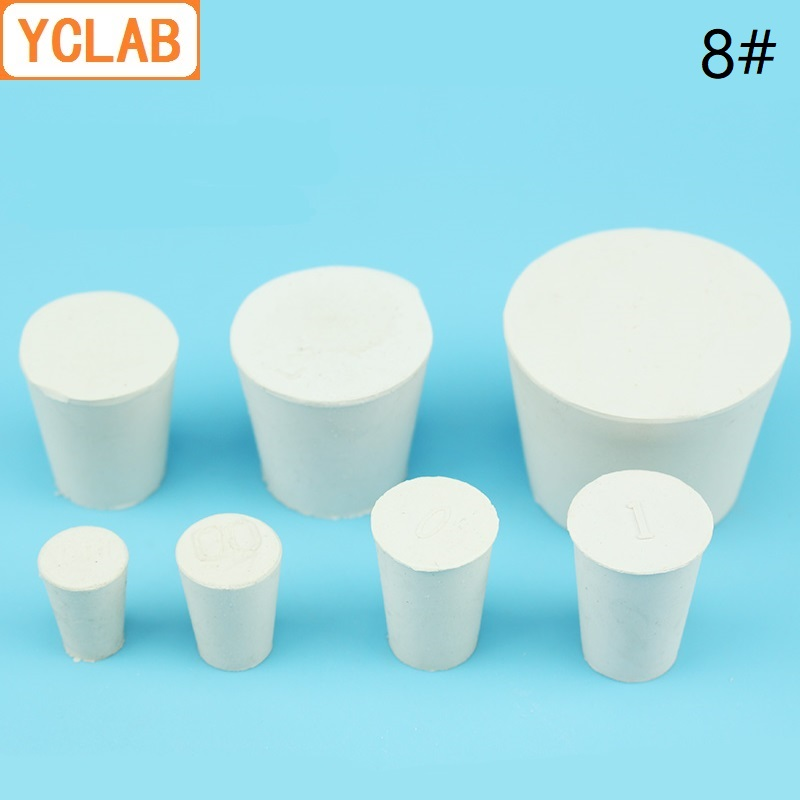 YCLAB 8# Rubber Stopper White For Glass Flask Upper Diameter 42mm * Lower Diameter 33mm Laboratory Chemistry Equipment