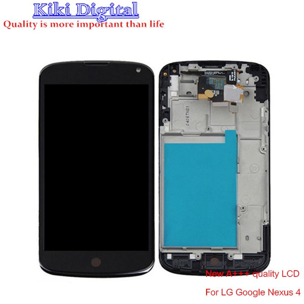 For LG Optimus Google Nexus 4 E960 LCD Display Touch Screen Digitizer + Bezel Frame Full Assembly  Free shipping new lcd touch screen digitizer with frame assembly for lg google nexus 5 d820 d821 free shipping