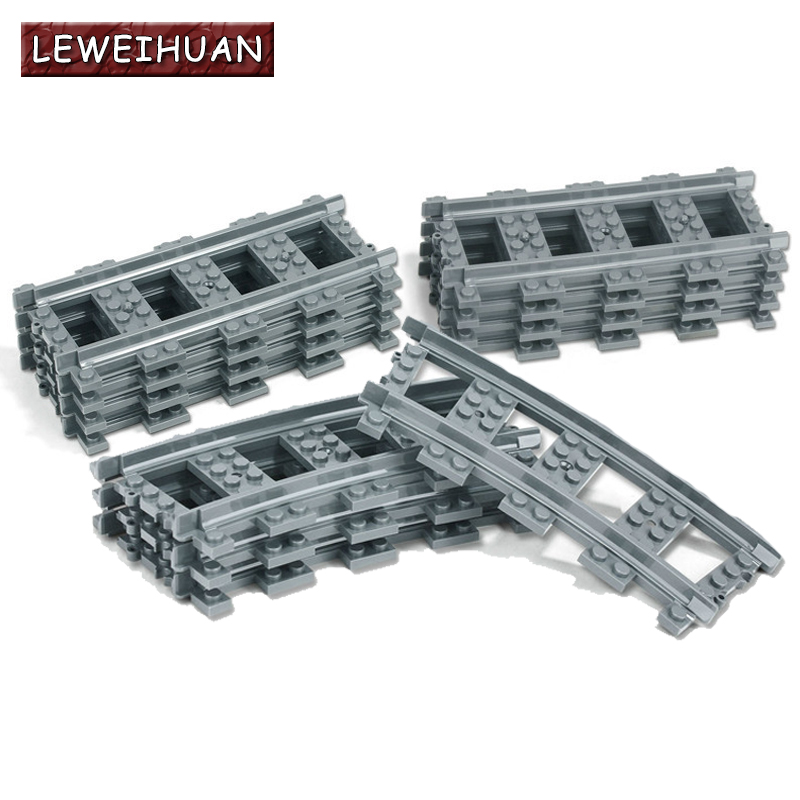 10-100 Teile/los City Züge Zug Schiene Gerade & Curved Schienen Bausteine Set Bricks Modell Kinder Spielzeug kompatibel Legoe