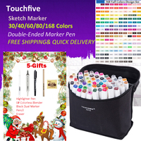 Touchfive 168 Colors Pen Markers Set Dual Ended Sketch Markers Pen For Drawing Manga Markers Design