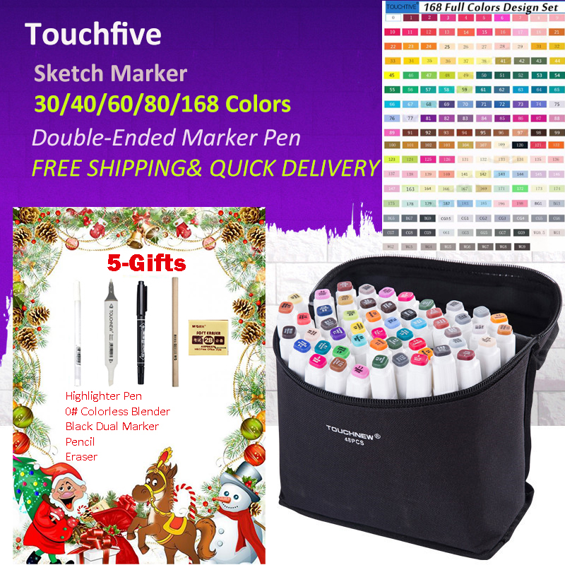 Touchfive 168 Colors Pen Markers Set Dual-Ended Sketch Markers Pen For Drawing Manga Markers Design Art Supplies dainayw 12 cool grey colors marker pen grayscale dual head art markers set for manga design drawing school student supplies