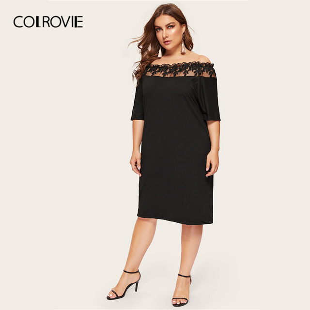 COLROVIE Plus Size Black Off The Shoulder Contrast Mesh Elegant Dress Women 2019 Summer Short Sleeve Knee Length Party Dresses 4