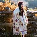 MX136 Nueva Llegada 2016 largo de gran tamaño cuello de piel mongol vellón de algodón acolchado impreso vintage grueso abrigo de invierno de las mujeres