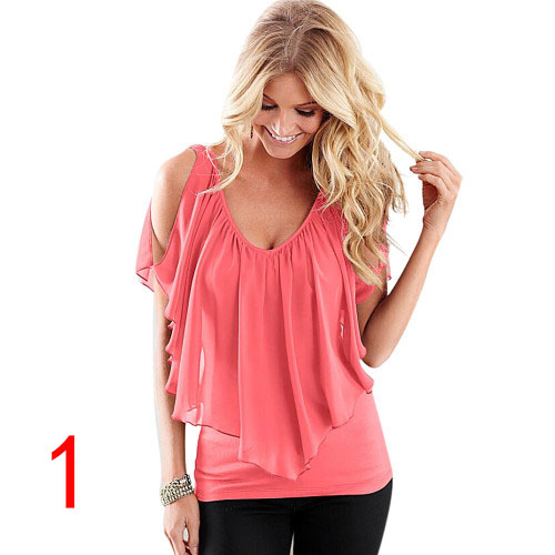 J26801 Summer Chiffon Shirt V Neck Solid Color Sleevess Office Lady Work Casual Shirts