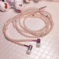 Fine jewerly Pearl Necklace Chain Bling Diamond Stereo Earphone With Microphone For iPhone 6 6S Xiaomi Samsung Smart phone