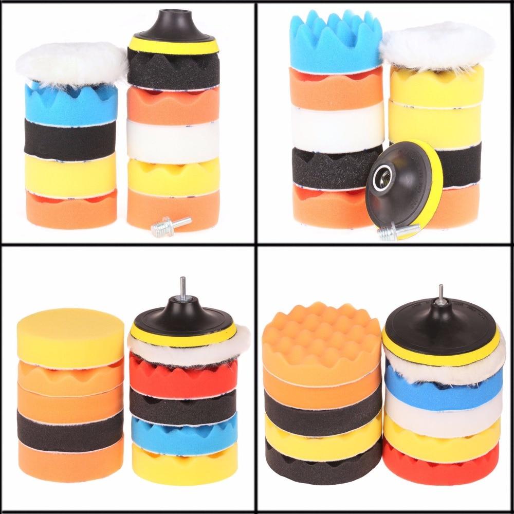 SPTA 11Pcs 3/4/5/6/7 Polishing Pad Waxing Buffing Pad Sponge Backer Plate Backing pad Kit Set For Car Polisher