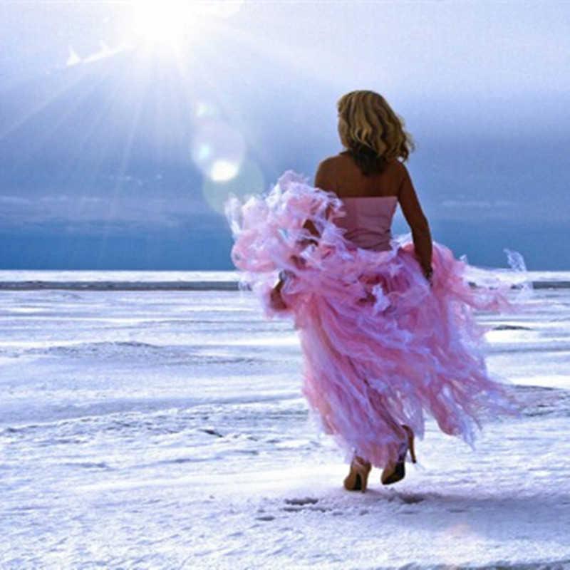 אביב ארוך מתכווננת חצאית 100% נדל תמונה סקסי טוטו למבוגרים בעבודת יד טול אופנה מקיר לקיר אורך חתונה חצאית לנשים