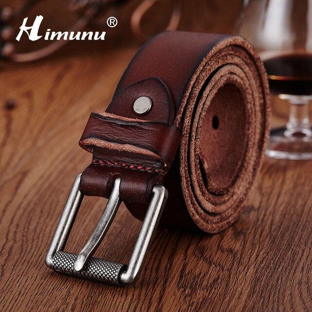 Himunu Bromista de La Manera Correa de Cuero Genuina Para Los Hombres Famosa Marca de Lujo de La Vendimia Hebilla Hombres Cinturones Jeans Cinturones de Alta Calidad