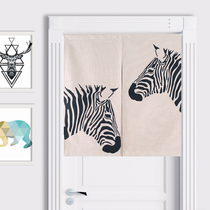 Scandinavian modern zebra cotton curtain entrance decorative curtain partition door home decoration short kitchen curtains