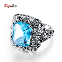 925 Sterling Silver Jewelry Wholesale Gold And Silver Details Antique Jewelry 2 5ct Aquamarine Women 100