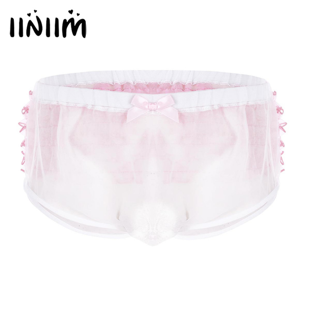 White Mens Lingerie Frilly Ruffle Lace Trim See Through Wetlook Organza Jockstraps Sissy Briefs Underwear Sexy Gay Male Panties