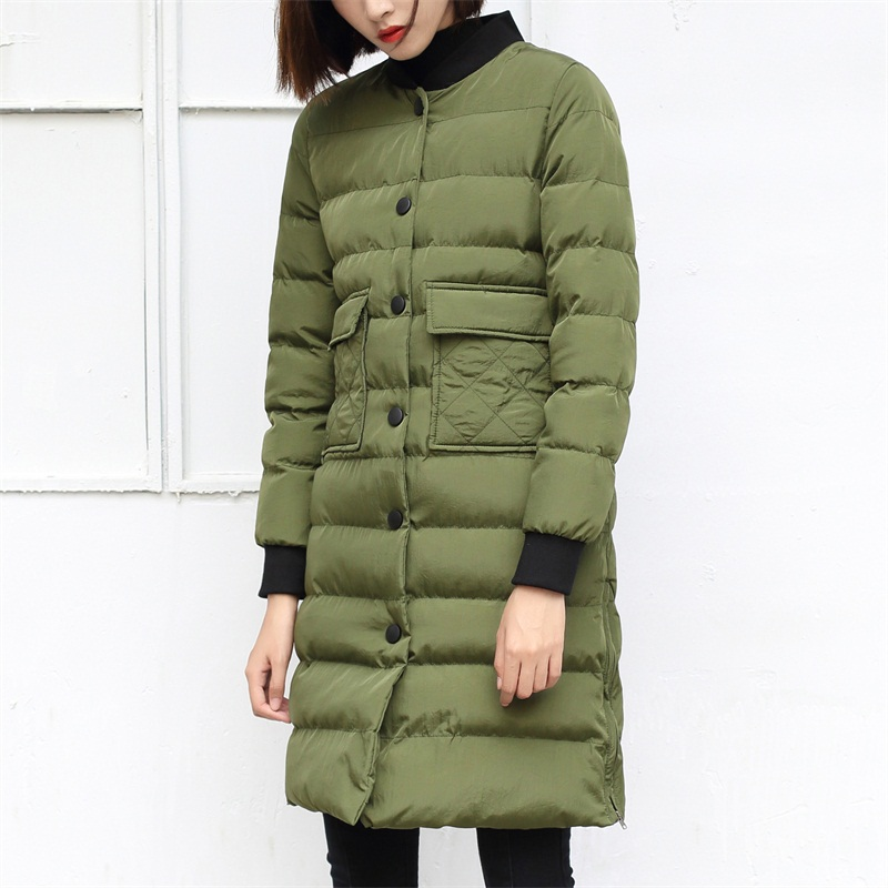 Thick Lightweight Parkas Jacket Women Winter 2016 Korean Style Femme Single Breasted Closure Long Army Green