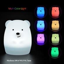 Lámpara de noche LED con Sensor táctil para niños y bebés, lámpara de silicona con forma de oso, perro, zorro, mono, 9 colores